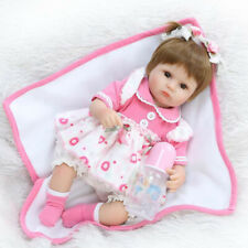 17inch Newborn Baby Doll Soft Simulation Reborn Girl Toy With Feeding Bottle