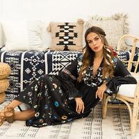 Vintage Women Flower Print Deep V-Neck Long Sleeve Maxi Dress Ethnic Boho Hippie