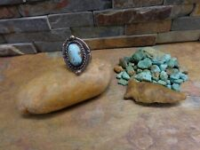 Native Old Pawn Fred Harvey Era sz.8 Old Navajo Sterling Turquoise Stamped Ring