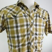 UNDER ARMOUR SHORT SLEEVE PLAID BUTTON DOWN COTTON SHIRT MENS SIZE M