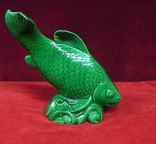 """Koi Fish Statue   St Clement  France Green 13"""" Tall"""