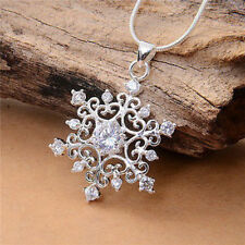 925 Silber Sterling Schneeflocke Halskette Zirkonia Strass Anhänger Modeschmuck