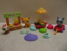 LITTLEST PET SHOP LPS LEMONADE STAND # 855 CAT 856 LADYBUG 857 DOG NEAR COMPLETE