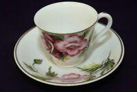 Vintage Merit Occupied Japan Demitasse Tea Cup & Saucer Red Pink Roses