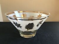 """Vintage ALDON Frosted Glass Gold Leaves 10-1/4"""" Salad/Dessert Bowl; Signed"""