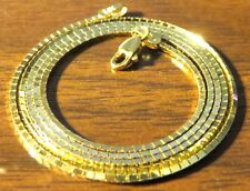14K YELLOW GOLD,  MIRROR BOX CHAIN, 20 INCHES LONG , 1 MM SQUARE ,