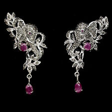 Awesome Oval 6x4mm Red Pink Ruby Marcasite 925 Sterling Silver Elephant Earrings