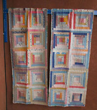 Vintage Quilt Curtains Shabby Chic Handmade Granny Pastel Multi-Color