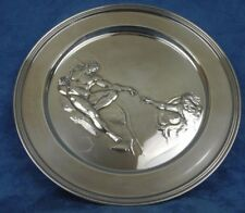 """Plate; Sterling Silver, Richard Comyns, Repousse Scene Creation of Adam, 9"""" DM"""
