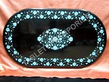 """24""""x36"""" Black Marble Top Dining Table Turquoise Inlay Floral Decor Art E1385"""