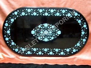 "24""x36"" Black Marble Top Dining Table Turquoise Inlay Floral Decor Art E1385"