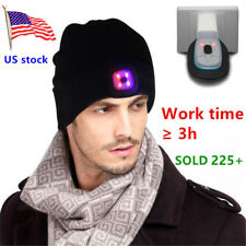 Rechargeable Men Women 8 LED Light Beanie Hat Fishing Ski Riding Lamp Knit Cap