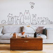 Cartoon Animal Wall Sticker Shy Bear Fox Baby Room Creative Nursery Decals L ~JP