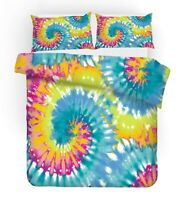 Tie-Dye Geometric Spiral Whirlpool Bedding Duvet Quilt Cover Set Single Queen