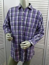 Mens HOT Jack Stone by THOMAS DEAN Shirt PURPLE Plaid - Contrast Flip Cuff - XL