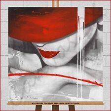 Red Hat Lady Woman Girl Canvas Print Picture Abstract Modern Wall Art Grey White