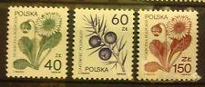 POLAND STAMPS MNH Fi3066-67,87 Sc2917-19 Mi3214-15,35 -Medic.plants-1989,clean