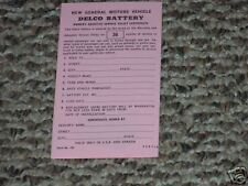 65 66 67 68 BUICK DELCO BATTERY OWNERS CERTIFICATE 750