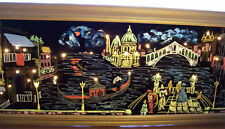 Vintage Venice, Italy Lighted Black Velvet Material Picture Light Picture
