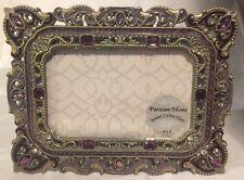 "NEW Purple Enamel Jeweled 4"" X 6"" 4x6 Picture Photo Frame Parisian Home Antique"
