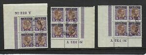 Denmark Scott Number Q9A 3 Used Matching Plate Block Number Blocks of 4 Stamps
