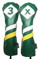Majek Retro Golf #3 & X Fairway Wood Headcover Green White Yellow Leather Style