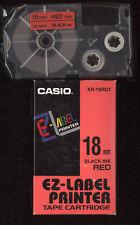 1x Casio XR-18RD1 BLACK / RED schwarz / rot 18mm  Farbband LABEL EZ-Label Tape