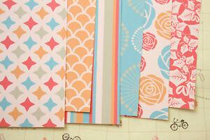 Orange Red scrapbooking paper floral leaves craft 250gsm cardstock journal cards
