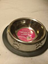 Metal Non-Skid Cat / Dog Bowl Stainless Steel Holds 6 Oz Paw Print New