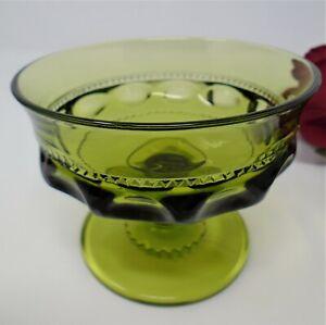 Indiana Glass King's Crown or Thumbprint Avocado Sherbet Dessert Dish