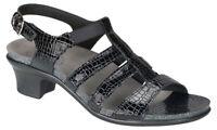 SAS Women's Allegro Black Croc Sandals 2360-181, Wide US