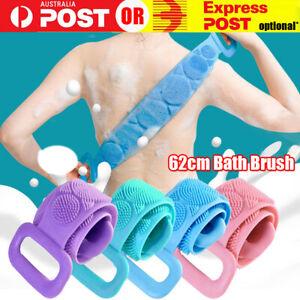 Bath Silicone Exfoliating Back Strap Scrub Shower Body Scrubber Brush Wash Clean