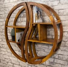 SOLID SHEESHAM WOOD ROUND 2 PART SHELVING UNIT BOOKCASE YIN YANG IBF-051A 75CM