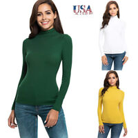 Women Casual Long Sleeve Turtle Neck Solid Slim Fit T-Shirt Tunic Tops Blouse US