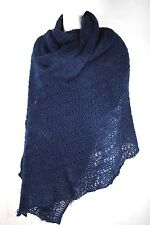 XXL Lace Stola Strick Decke Schal dunkelblau 200 x 120 cm Tuch Poncho Plaid XL