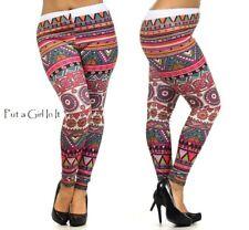 New SOFT JUNIORS PLUS SIZE Womens MULTI PINK BALI MEDALLION LEGGINGS XL 1X 2X 3X