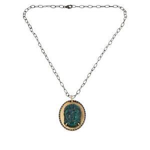 Rarities Malachite and Zircon Buddha Pendant with Black Rhodium Chain HSN $240.0