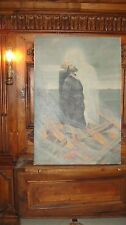 ANTIQUE SIGNED FRENCH 19thC BURNING SAINT ST OIL PAINTING JESUS IMAGE APPEARING