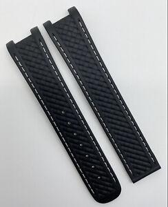 Authentic Omega Aqua Terra 20mm x 18mm Black Rubber Watch Strap CVZ007493 OEM