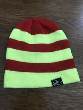 Lib Tech Beanie Hat - NEW -Snowboarding - Striped - Neon Yellow & Red