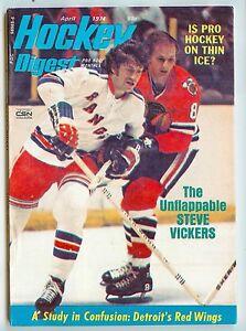 HOCKEY DIGEST 4/74 Rangers VICKERS+ M.Howe/Rocket Richard/Red Kelly/MORE  mt