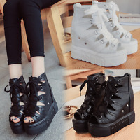 Womens Gladiator Wedge HIgh Heel Platform Buckle Hollow Out Sandals Shoes Casual