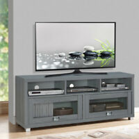 """TV stand 58"""" Media Entertainment Table Shelf Cabinet  Living Room Furniture Gray"""