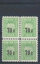 Switzerland 1890-th Canton de Vaud  Droits Reels 70c block 4 MNH