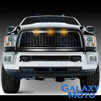 Matte Black Replacement Mesh Grille+Shell+Amber LED for 10-18 Dodge RAM 2500+350