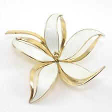 Vintage Sterling Silver Hroar Prydz Large White Enamel Flower Pin Brooch