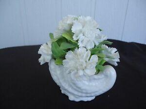 vintage coalport large flower posy  boquet shell vase white Chrysanthemum