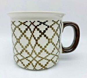 Stonware Mug / Cup Geometric Pattern Gold Painted Handle Tableware
