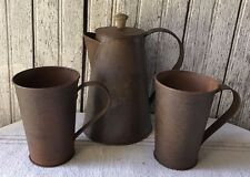 Primitive Rusty Coffee Pot And 2 Mugs Cups Set Farm House Kitchen Rustic Country