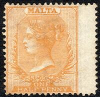 Malta 1880 Bright-orange-yellow 1/2d crown CC lightly mounted mint SG12